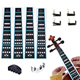 OBANGONG 5 Pcs 4/4 Fingerboard Sticker Violin Mute and Finger Guide Pack,Fret Guide Label Chart and Tuner Adjuster Practice Silencer for Beginners