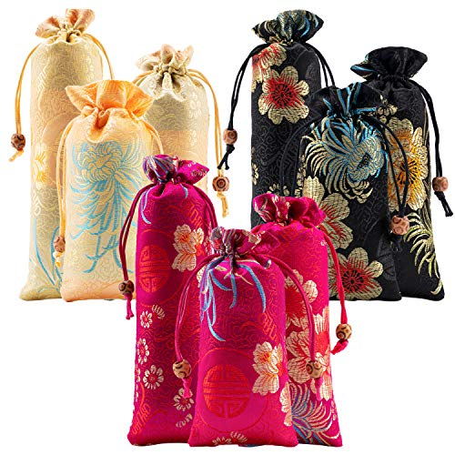 - 9pcs Silk Brocade Coin Bags Pouches with Drawstring Jewelry Gift Bag Candy Sachet Pouch Small Chinese Embroidered Organizers Pocket for Women Girls Dice Necklaces Earrings Bracelets, Mix Colors