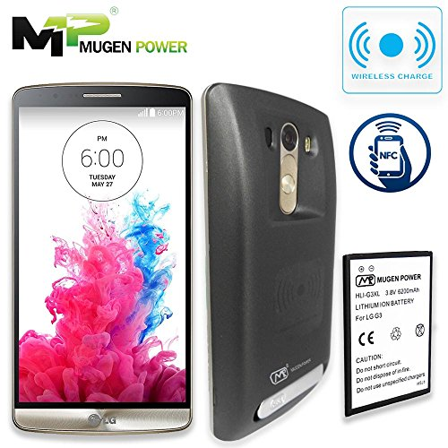 Mugen Power LG G3 Wireless Charge NFC Android Pay 6200 mAh Extended Battery Non-Slip Better Hand Grip Back Cover