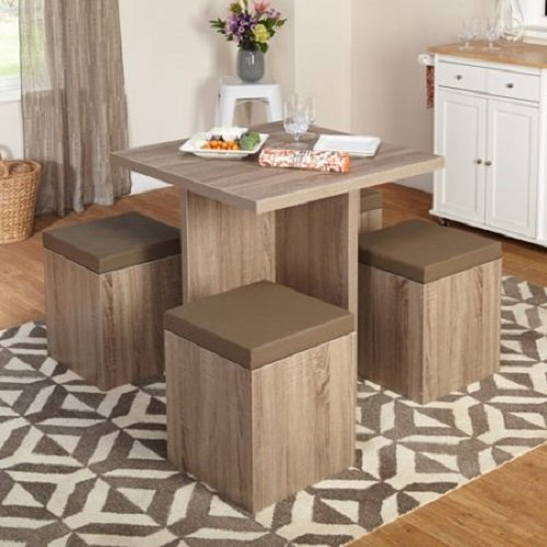 5PE Baxter Dining Set with Storage Ottoman, a convenient storage space under the top cushion, Particleboard with laminated finish and reclaimed look, Dimensions L x W x H 31.00 x 31.00 x 29.70