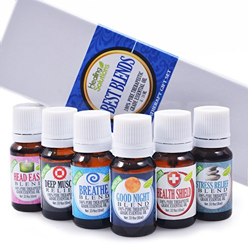Best Blends Set of 6 100% Pure, Best Therapeutic Grade Essential Oil - 6/10mL (Breathe, Good Night, Head Ease, Muscle Relief, Stress Relief, and Health Shield), how to clean a diffuser, essential oils amazon