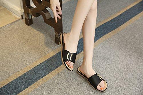 Pexuya Damen Sommer PU Leder Flach Sandalen Hausschuhe Outdoor Schuhe 412 Schwarz