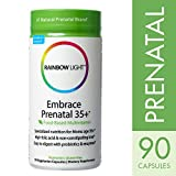 Rainbow Light - Embrace Prenatal 35+, Multivitamin Support for Fetal Development and to Help Soothe Muscle Aches and Nausea with Folic Acid, Ginger and Probiotics, Vegetarian, Gluten-Free, 90 Capsules
