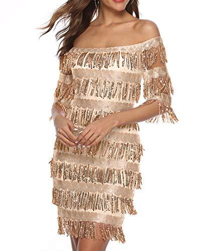 Zshujun Women's Off Shoulder Slash Neck Fringe Sequin Party Mini Dress 2523 Gold