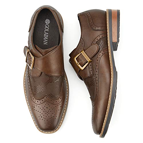 Men's Monk Strap Dress Shoes Wingtip Plaine Toe Single Buckle Slip on Loafer Brown 11