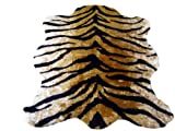 Walk On Me Classic Faux Fur Tiger Skin Rug - New Made in France (3x5 (actual 40'' x 55''))