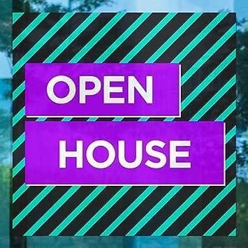 Open House Modern Block Window Cling CGSignLab 5-Pack 24x24