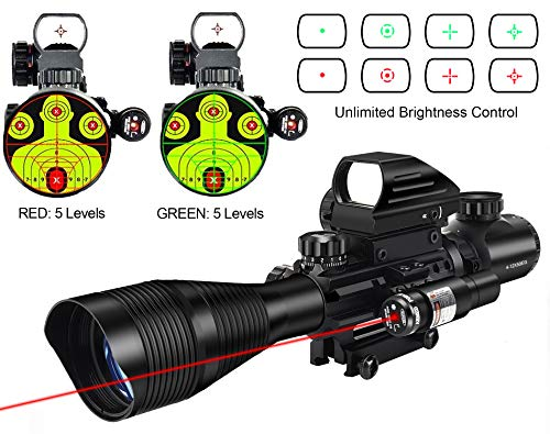 MidTen 4-12x50 Dual Illuminated Scope with Dot Sight & Laser Sight & 20mm Mount (Red Laser) (Scope For Pistol Crossbow)