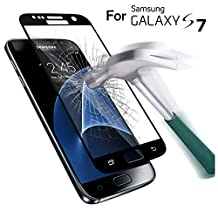 SAUS Samsung Galaxy S7 Tempered Glass screen protector, 3D Curved Full Coverage, SAUS 0.26mm Ultra Thin 9H Hardness No-Bubble Easy Install Scratch Proof Military Grade Armor Guard Screen Cover (Black)