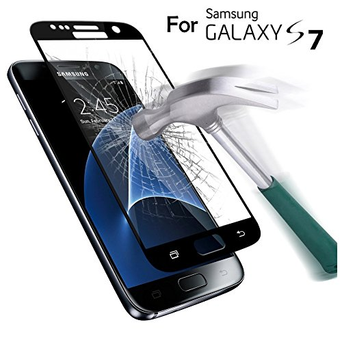 SAUS Samsung Galaxy S7 Tempered Glass screen protector, 3D Curved Full Coverage, SAUS 0.26mm Ultra Thin 9H Hardness No-Bubble Easy Install Scratch Proof Military Grade Armor Guard Screen Cover (Samsung Star)
