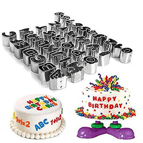 AMOGHA 37pcs Alphabet And Number Cutters For Cake Decorating English Letters Numbers Pattern
