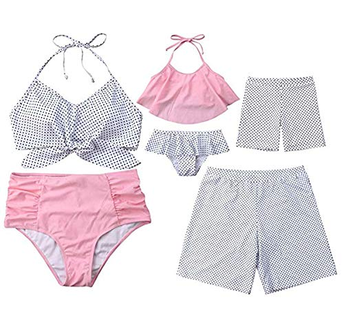 Mommy&Me Family Matching Swimsuit Two Piece Beach Wear Monokini Bathing Swimwear Board Shorts (Pink White/mom&Girl, Mom S) (Matching Bathing Suits)