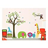 Adorable Adhesive Rooms Walls Vinyl DIY Stickers / Murals / Decals / Tattoos For Kids Bedrooms / Nurseries With Elephant, Monkeys, Lion, Giraffe, Owls And Tree Designs In Many Colours By VAGA