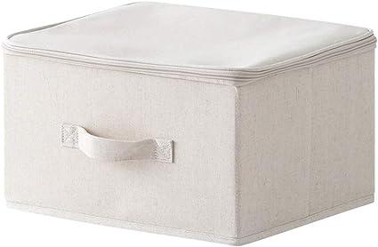 Caja de almacenamiento de tela con cremallera para ropa de juguetes, algodón natural y caja de acabado de lino, Cotton color, 35 * 25 * 20cm: Amazon.es: Oficina y papelería