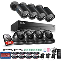 SANNCE 8-Channel HD 1080N Video Security System DVR Kit with 1TB Hard Drive and (8) 720P Bullet and Dome Cameras with IR Night Vision LEDs and IP66 Weatherproof Housing