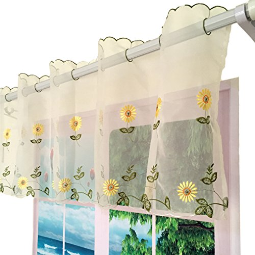 ZH.H 1 Panel Handmade Daisy Embroidery Pastoral Style Cafe Curtain Floral Window Valance(70″W x 17″H, Yellow)