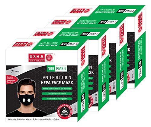 Usha Shriram Fresco (With Valve Cover), Washable, Reusable Face Mask (Black, Medium) (PACK OF 4) Price & Reviews