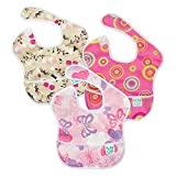 Bumkins SuperBib, Baby Bib, Waterproof, Washable, Stain and Odor Resistant, 6-24 Months, 3-Pack - Pink Fizz, Butterfly, Flutter Floral: more info