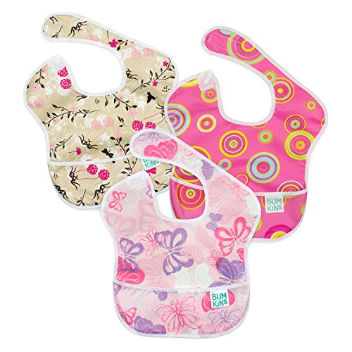 Bumkins SuperBib, Baby Bib, Waterproof, Washable, Stain and Odor Resistant, 6-24 Months, 3-Pack - Pink Fizz, Butterfly, Flutter ()