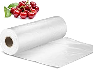 "14"" X 20"" Plastic Produce Bag on a Roll, Clear Food Storage Bags for Bread Fruits Vegetable, 350 Bags/Roll"