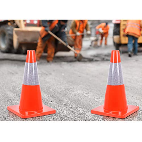 Goplus 5PCS Traffic Cones 18'' PVC Safety Road Parking Cones Driving Construction Cones Orange with 6'' Reflective Strips Collar by Goplus (Image #7)