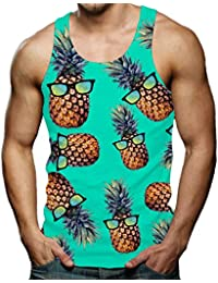 1901efd8e351b Men s Funny Tank Tops 3D Printed Cool Graphic Sleeveless Cool Gym Workout T- shirt
