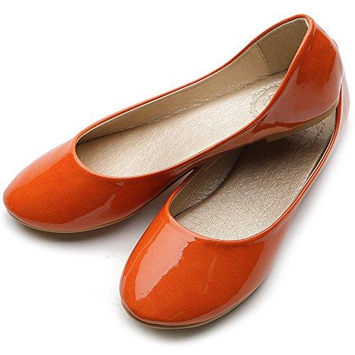 Ollio Damesschoenschoen Basislicht Lage Hak Emaille Multikleuren Vlak Oranje