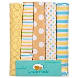 """Luvable Friends """"Pattern Plus"""" 5-Pack Receiving Blankets - yellow/blue, one size"""