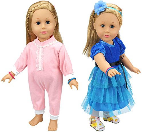 HappyBB 2 PCS Baby Doll Clothes Fits 16 inches American Girl Doll - Pure Pink Romper and Blue Dress