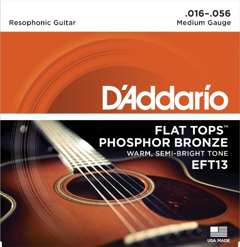 (D'Addario EFT13 Flat Tops Phosphor Bronze Acoustic Guitar Strings, Resophonic Guitar, 16-56)