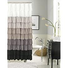 Dainty Home Flamenco Ruffled Shower Curtain, 72 by 72-Inch, Black/White