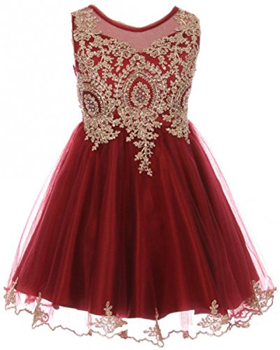 Big Girls' Dress Sparkle Rhinestones Pageant Wedding Flower Girl Dress Burgundy Size 10 (M10BK49)