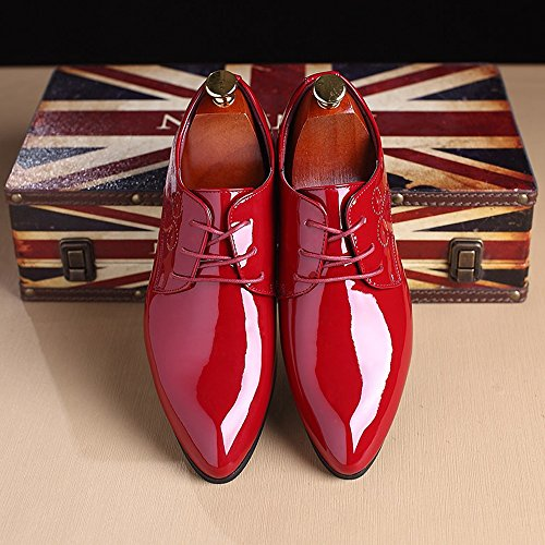 da liscia Scarpe 40 in Color Scarpe Lace Nero da pelle Up uomo EU Dimensione Hollow Classic Xiaojuan uomo Pelle shoes Carving Uomo Rosso Oxford E5qxY1S