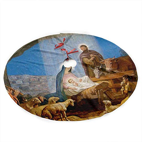 Grand Noel Nativity Scene Silhouette Canvas 36 Inch Under Christmas Artificial Tree Skirt Carpet Wood Floor Mat Rugs Protective Cover Themed Round Pad Classic Big Large Xmas Decorations ()
