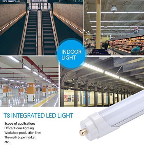 JOMITOP LED Tube Light 8ft T8 FA8, 45W, Replacement 100W Fluorescent Lamp Shop Lights, 8FT Single Pin FA8 Base Dual-Ended Power Cold White 6000K 4500LM, Frosted Cover, AC 85-265V 12 Pack by Jomitop (Image #5)