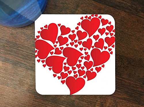 - Hearts Within Heart Red and White Silicone Drink Beverage Coaster 4 Pack