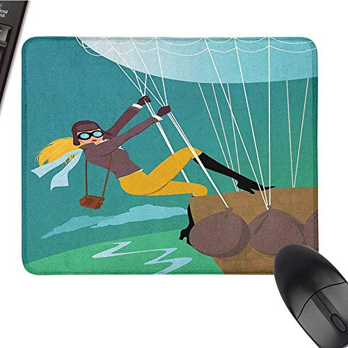Funny Mouse pad Explore,Vintage Cartoon Style Explorer Spy Woman Figure Adventurer on a Hot Air Balloon, Multicolor Large Gaming Mouse pad 15.7 x23.6 INCH