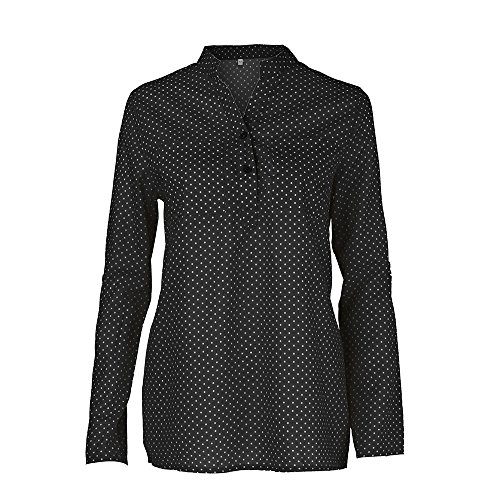Longues Printing Longue Vrac Button nbsp;Polka Neck Blouse en Noir Robe Chemise Manches Point Wave V Size Plus V Print Femmes ALIKEEY Neck Manches Chemisier Tops Longues EqvnS0a