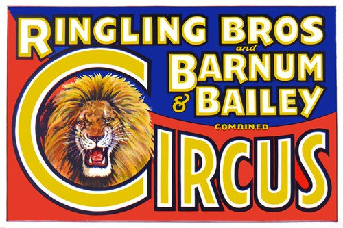 ringling brothers barnum & bailey CIRCUS poster ROARING LION MANE 24X36