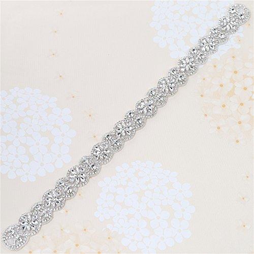 Wedding Belt Applique Rhinestones Bridal Trim Handmade Hot Fix for DIY Wedding Dresses Belts and Sashes - Silver
