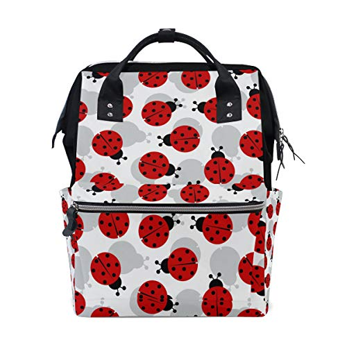 - TropicalLife Cute Ladybug Pattern Diaper Backpack Large Capacity Baby Bags Multi-Function Zipper Casual Travel Backpacks for Mom Dad Unisex