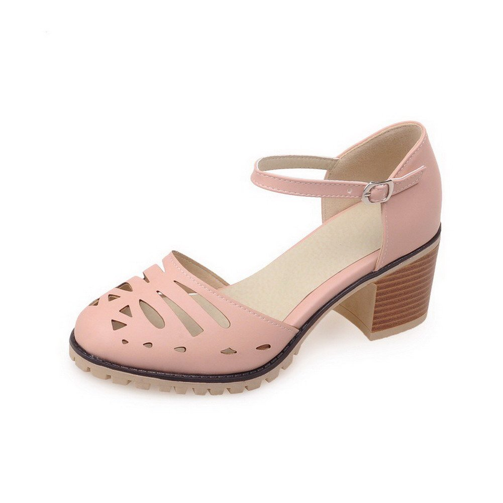 WeiPoot Women's Solid PU Kitten-Heels Closed Toe Buckle Sandals with Metal, Pink, 34