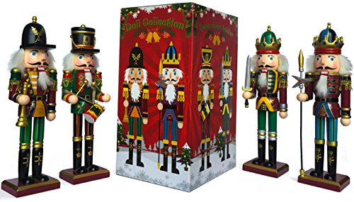 (Nutcracker Figures Soldier Doll Christmas Tree Gift Box Spring Country 12 Inch Decoration Figurine Collection Holiday House Present New Wooden Puppet Occasion Ornament 4 Pieces Decorative Toys Set Kid)
