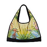 MAPOLO Summer Flowers Flamingo Toucan Birds The Sun Travel Duffel Bag Sports Gym Bag Shoulder Bag
