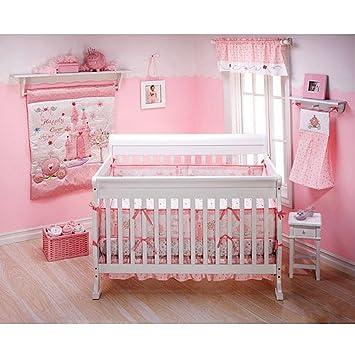 Amazon.com : 4pc Disney Princess Baby Girl Pink Crib Bedding ...