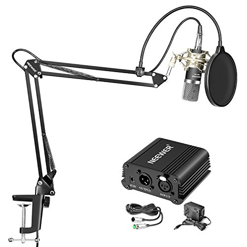 Neewer NW-700 Professional Condenser Microphone and NW-35 Suspension Boom Scissor Arm Stand, 48V Phantom Power Supply Kit with XLR to 3.5mm Cable and Mounting Clamp, Shock Mount (Silver), Pop Filter by Neewer