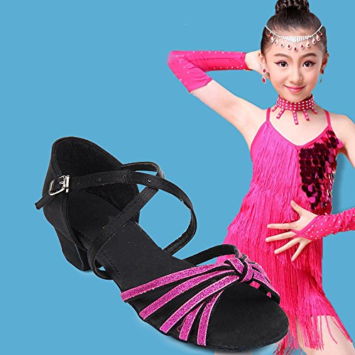 Eastlion Ballroom Salsa Tango Shoes Latin Dance Shoes Dance Sandals for Women and Girls Practice Red+gold aQLOmaATPn