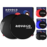 Royago Exercise Fitness Sliders Dual Sided Sliding Discs for Gliding Discs Exercise to Enhance Coordination of Whole Body,Abdominal Exercise Equipment,Perfect for Carpet or Hardwood Floors (Black)