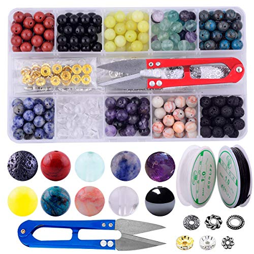 Stone Beads Box Kits 240pcs Round Loose Gemstone 8mm Natural Amethyst Black Obsidian Lava Stone White Crystal Fluorite Assorted with Accessories Tools for Bracelet Jewelry Making (Stone Beads Kit ()