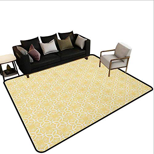 Carpet Liner for Carpet Yellow and White,Ornate Floral Pattern with Swirls Curls Symmetrical Overlap Motifs, Pale Yellow White
